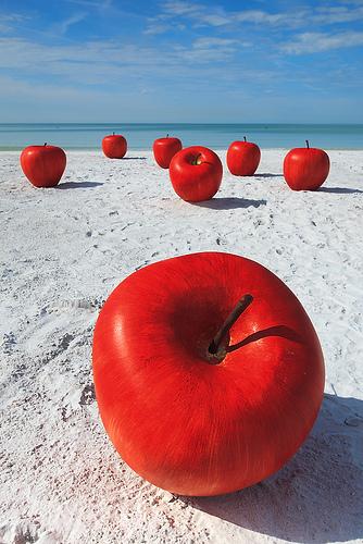 apples on the beach